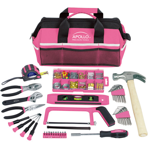 Apollo Tools 201-Piece Household Tool Kit in Tool Bag, Pink