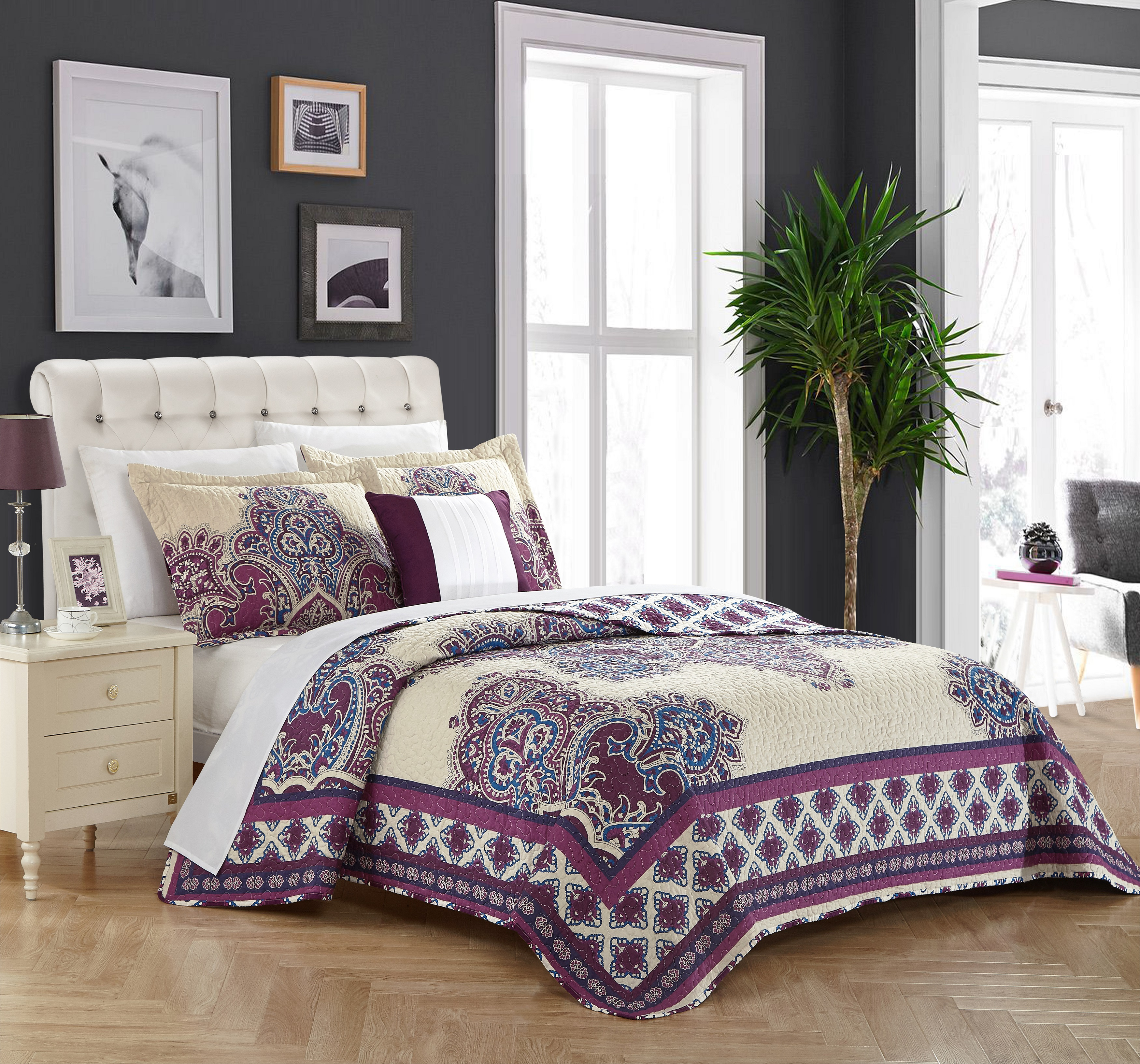 Chic Home 4-Piece Muraqqa 100% Cotton 200 Thread Count Extra Large Panel Framed Vintage Boho Printed REVERSIBLE Quilt Set Purple