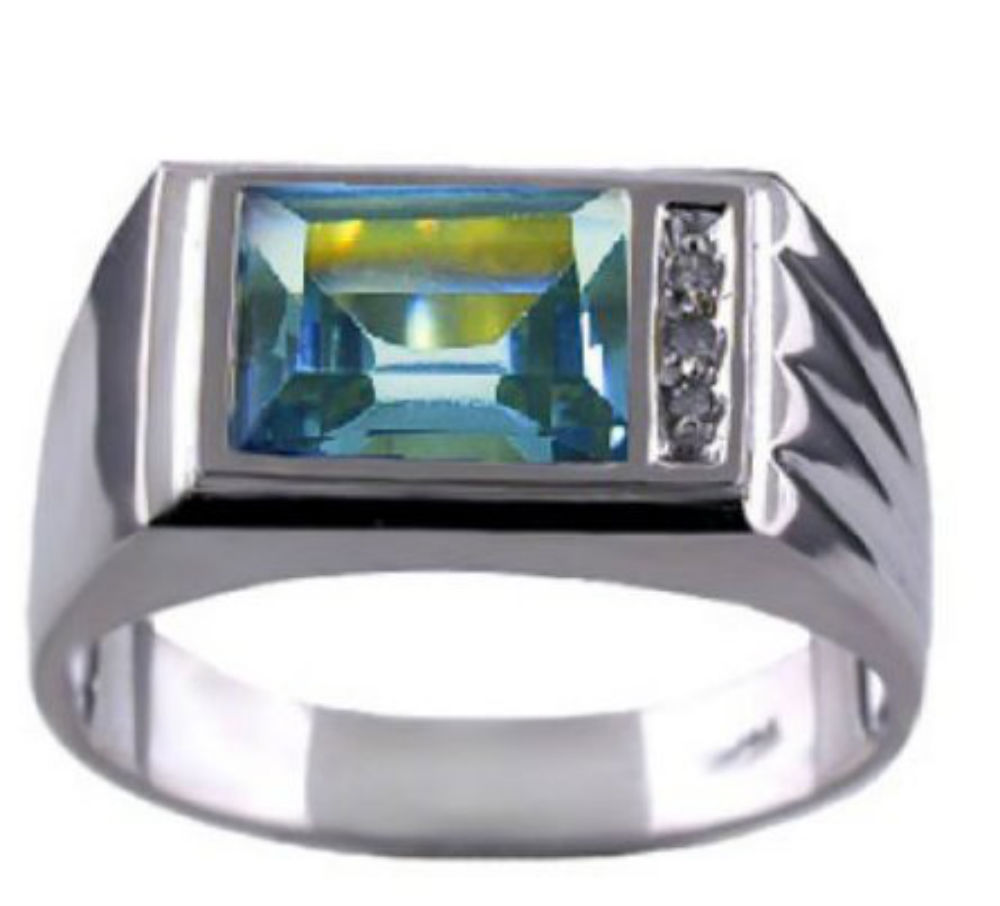 Mens Simulated Aquamarine & Diamond Ring 14K White Gold Band by Elie Int.