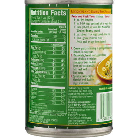 canned green beans nutrition facts