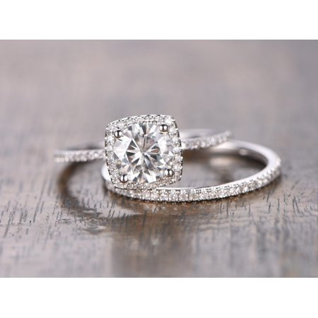 Round Moissanite Wedding Set (1.50 Carat Round cut Moissanite and Diamond Engagement Ring Set in 18k White Gold Over Silver)