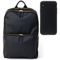 MOTILE Vegan Leather Commuter Laptop Backpack + MOTILE Vegan Leather Phone Case for iPhone X/XS