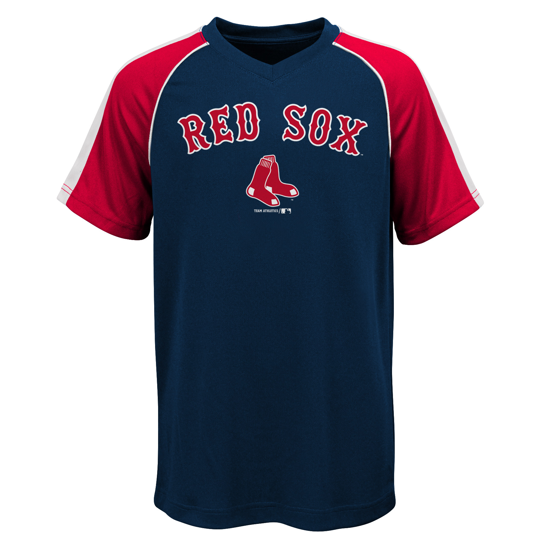 MLB Boston RED SOX TEE Short Sleeve Boys Fashion Jersey Tee 100% Polyester Pin Dot Mesh Jersey Team Tee 4-18