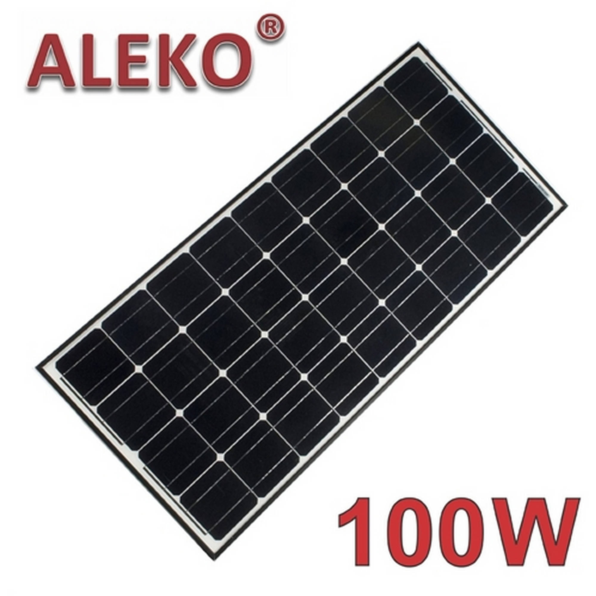 ALEKO Solar Panel Monocrystalline 100W for any DC 12V Application (gate opener, portable charging system, etc.)