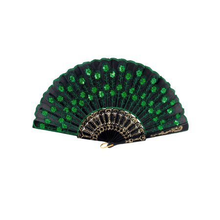 Unique Bargains Wedding Party Gift Plastic Frame Green Sequins Decor Folding Hand Fan Black](Plastic Hand Fan)