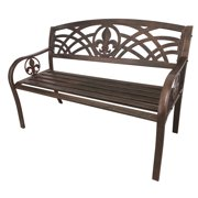 Leigh Country Outdoor Fleur De Lis Metal Bench Bronze