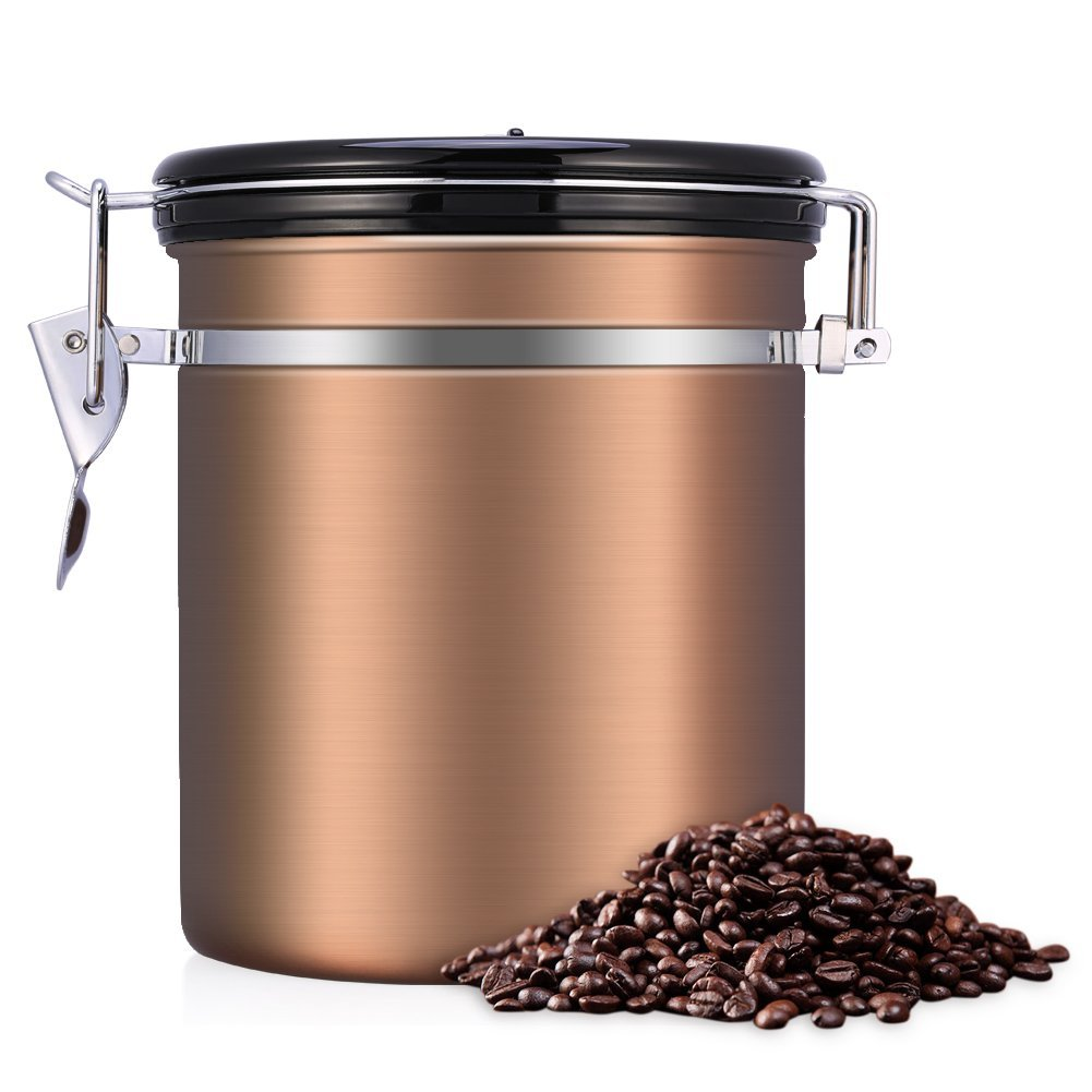Coffee Container Airtight, Stainless Steel Vacuum Sealed Coffee Canister(1.5L/1.8L)