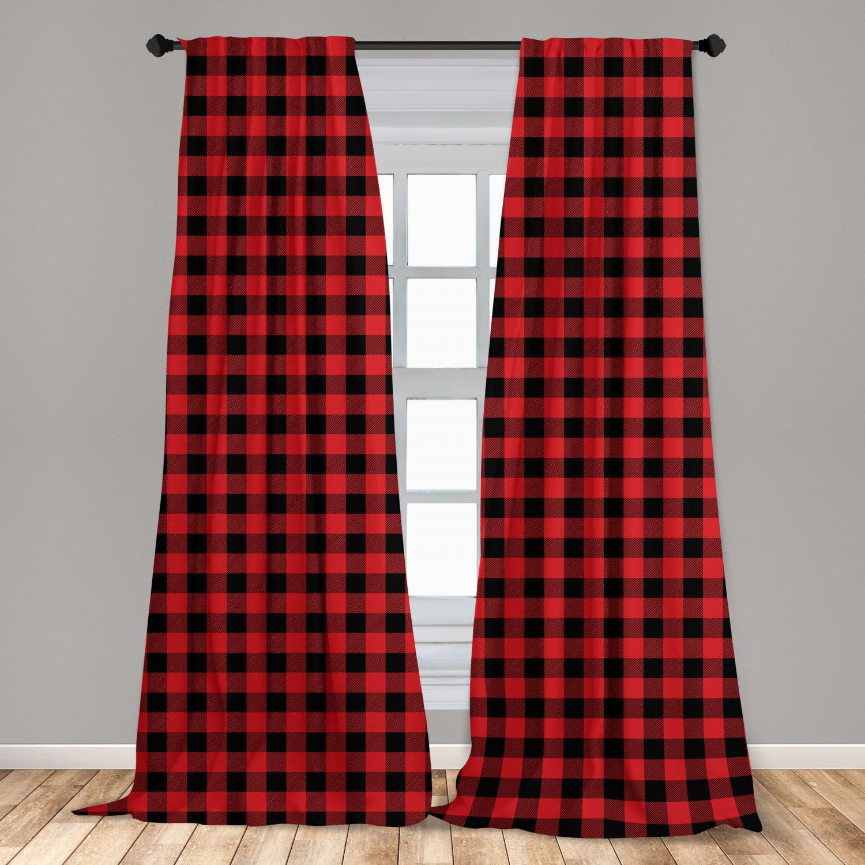 Plaid Curtains 2 Panels Set Lumberjack Fashion Buffalo Style Checks Pattern Retro With Grid Composition Window Drapes For Living Room Bedroom Orange Black By Ambesonne Walmart Com