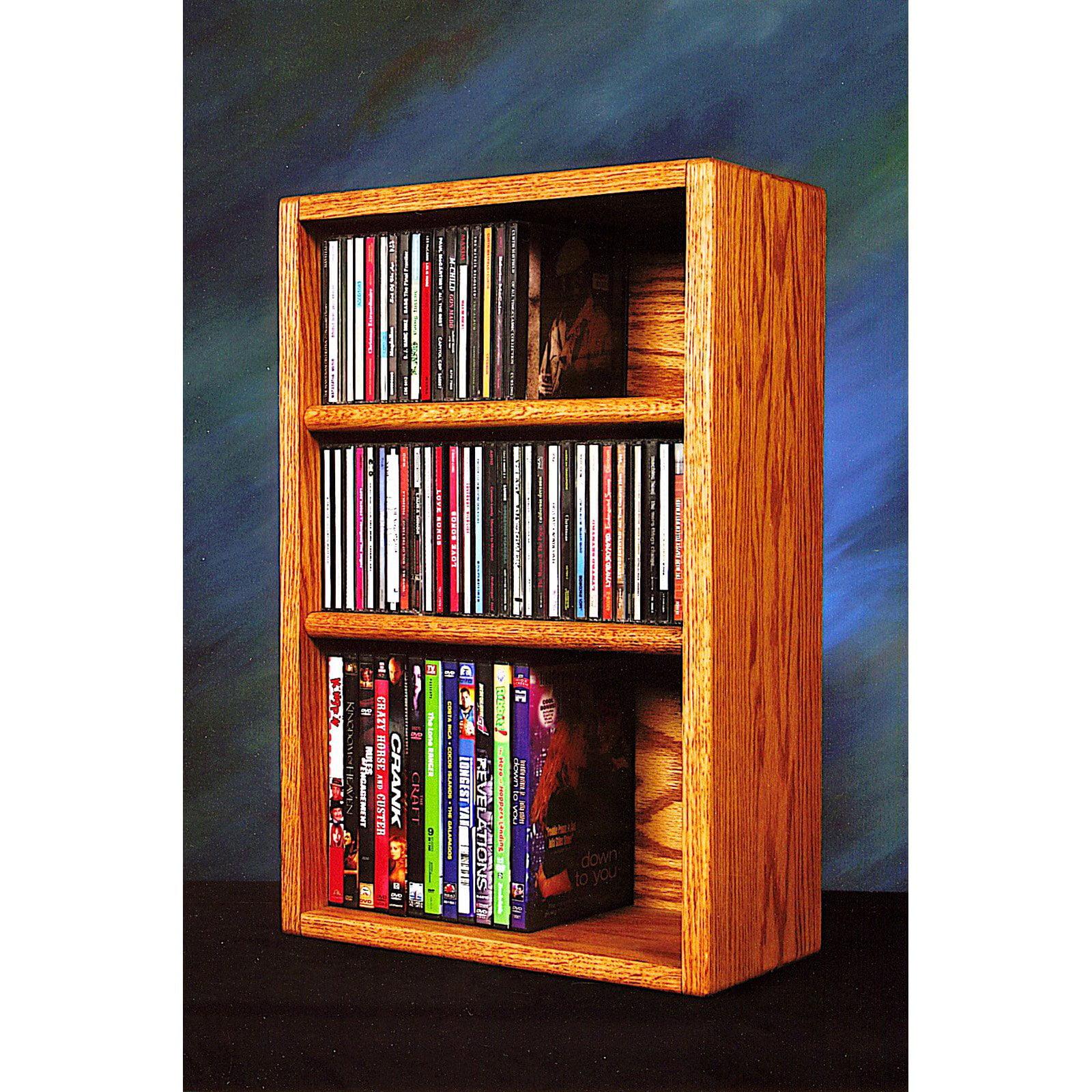 The Wood Shed Solid Oak Desktop / Shelf CD / DVD / VHS Tape Media Rack