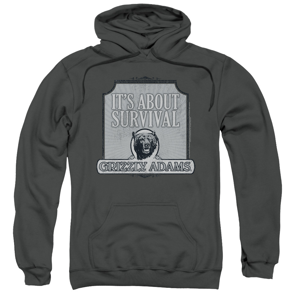 Grizzly Adams/Survival Adult Pull Over Hoodie Charcoal  Grz101