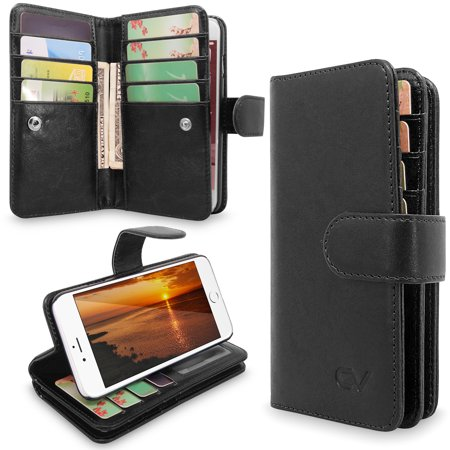 iPhone 6 Case, iPhone 6S Case, Cellularvilla [Stand Feature] Premium PU Leather Flip [12 Card Slots] [Purse] Wallet Case, [Magnetic Detachable] Back Cover For Apple iPhone 6 / 6S 4.7 (Best Leather Iphone Wallet)