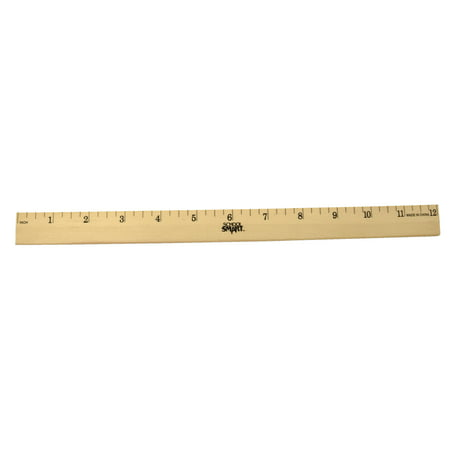 School Smart Single Beveled Plain Edge Wood Scale Ruler, 12 in L X 7/8 in W X 5/32 in Thickness, 1/4 in Scaled, Clear Lacquer Double Beveled Edge Ruler
