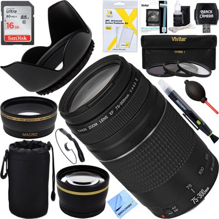 - Canon EF 75-300mm F4-5.6 III Lens + 16GB Wide-Angle & Telephoto Ultimate EOS Lens Kit (Certified Refurbished)