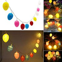Easter Egg LED String Light by Battery Operated Fairy String Lights with Warm White Light Up 10 Cotton Eggs Ornament for Easter Decoration Garden Spring and Easter Tree Decoration 6.5ft