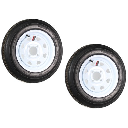 Two Trailer Tires On Rims 4.80-12 480-12 4.80 X 12 LRB 4Lug Wheel White