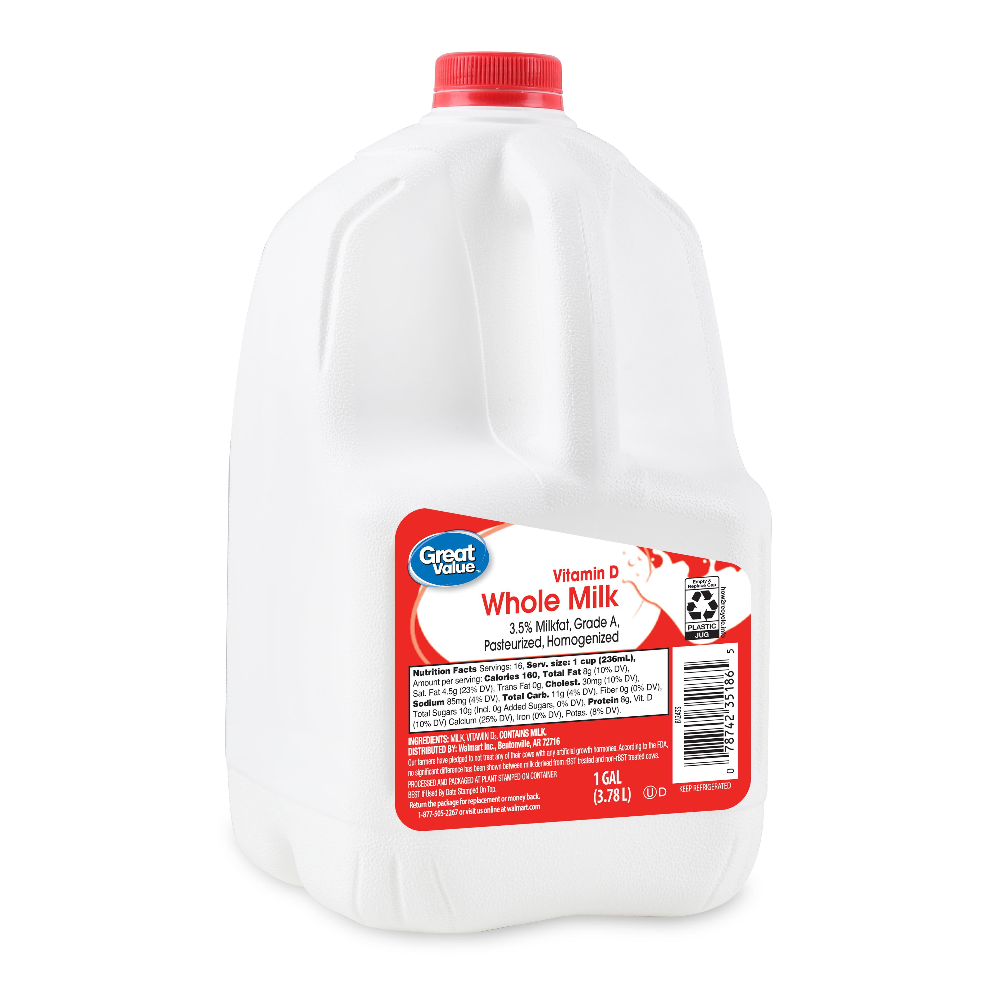Great Value Whole Milk 1 Gallon 128 Fl Oz Walmart Com Walmart Com