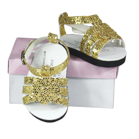 18 Inch Doll Clothes Accessory, Gold Sparkle Sandal And Authentic Shoe -