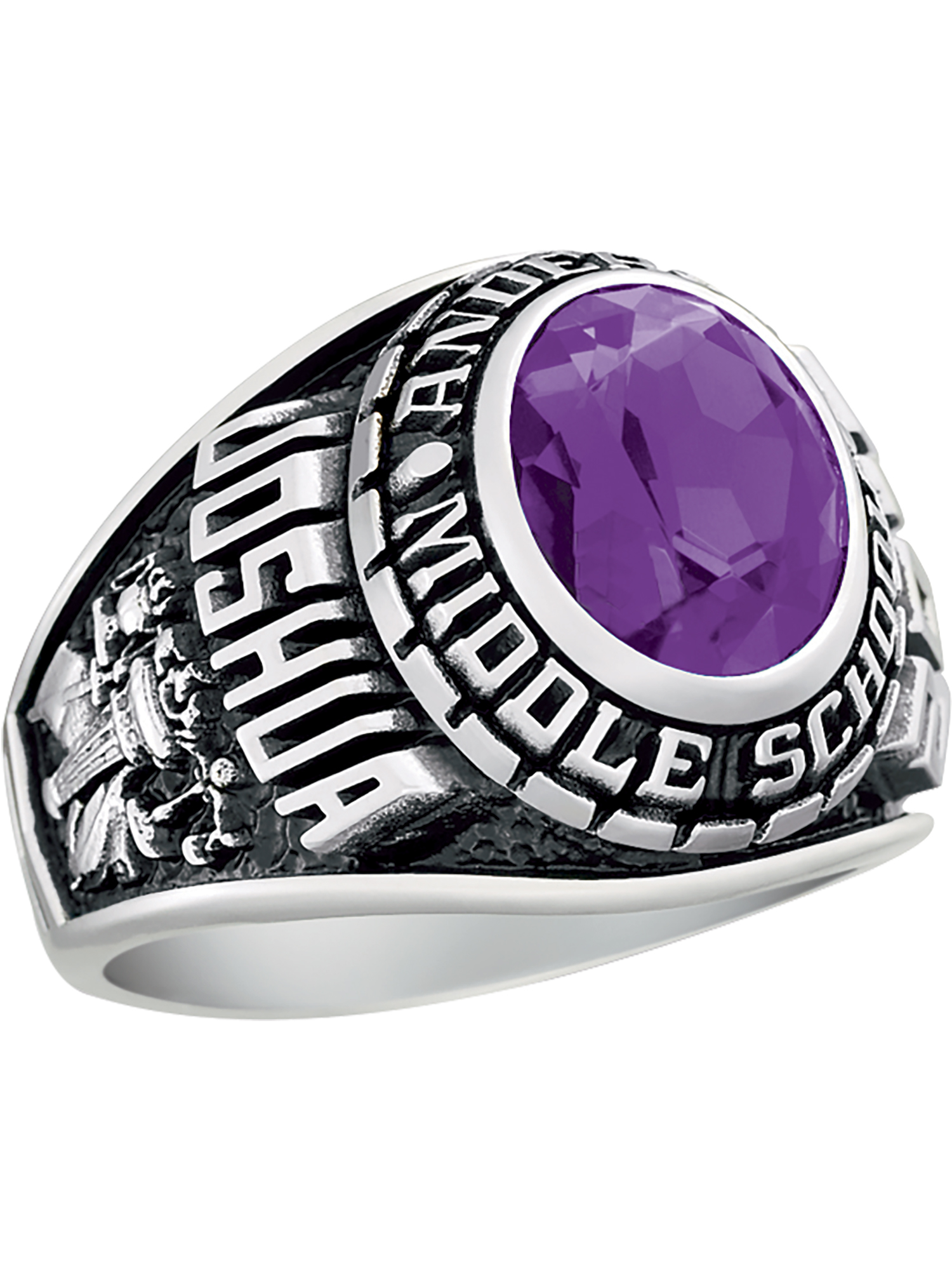 Keepsake Personalized Men's Middle School or Junior High Ring available in Valadium
