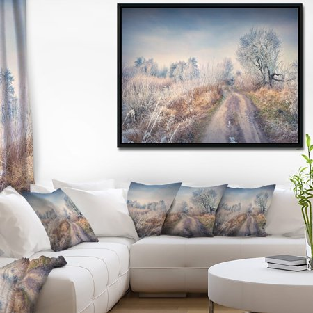 DESIGN ART Designart 'First Frost in Forest' Landscape Photography Framed Canvas Art Print