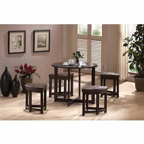 Wholesale Interiors Rochester Modern 5-Piece Bar Table Set with Nesting Stools, Dark Brown