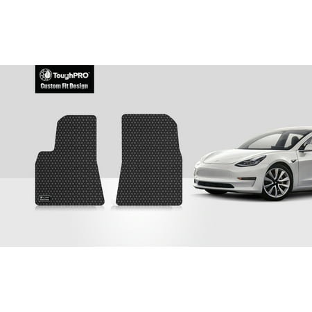 ToughPRO - TESLA Model S 1st & 2nd Row Mats - All Weather - Heavy Duty - Black Rubber - 2016