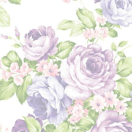 Norwall AB27616 Large Cabbage Rose Wallpaper, Lavender