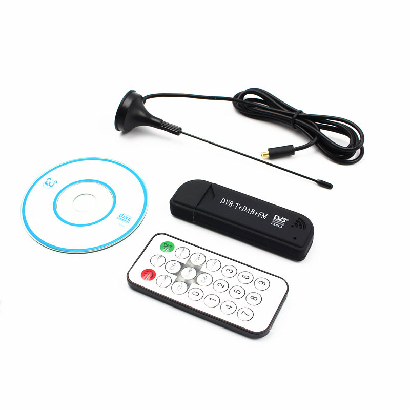 USB2.0 FM DAB DVB-T RTL2832U R820T2 RTL-SDR SDR Dongle Stick Digital TV Tuner Remote INFRARED Receiver with Antenna black