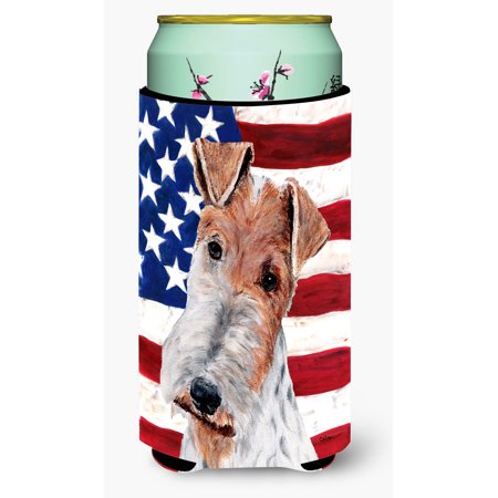 Wire Fox Terrier with American Flag USA Tall Boy Beverage Insulator Hugger SC9628TBC