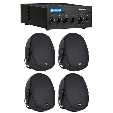 Crown Commercial/Restaurant 160MA 60 Watt 70Volt/8 Ohm Amplifier+(4) 5