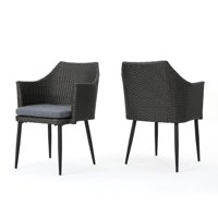 Ibiza Outdoor Mixed Black Wicker Dining Chairs with Water Resistant Cushions, Set of 2, Grey