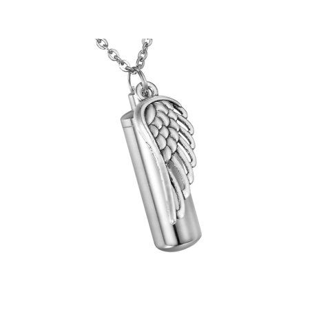 Angel Wing Cylinder Cremation Jewelry Memorial Urn Holder Necklace Key Chain