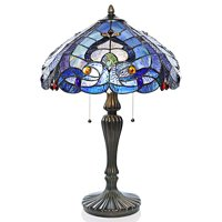 """River of Goods Sea Shore Stained Glass 24.25""""H Table Lamp"""