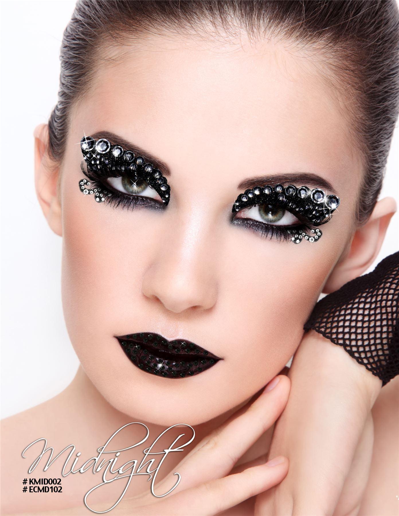 Xotic Costume Glitter Rhinestone Eye Makeupeyelash Kit Midnight