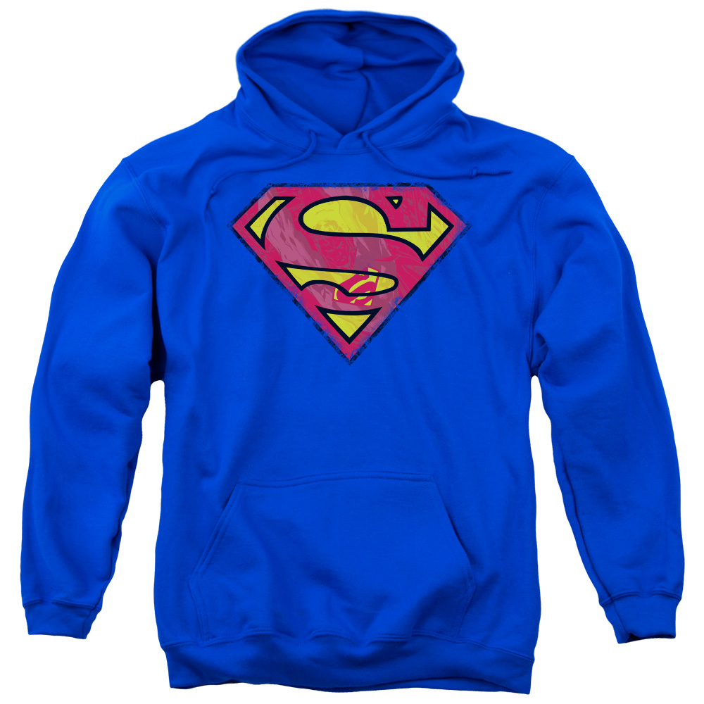 SUPERMAN/ACTION SHIELD-ADULT PULL-OVER HOODIE-ROYAL BLUE-MD