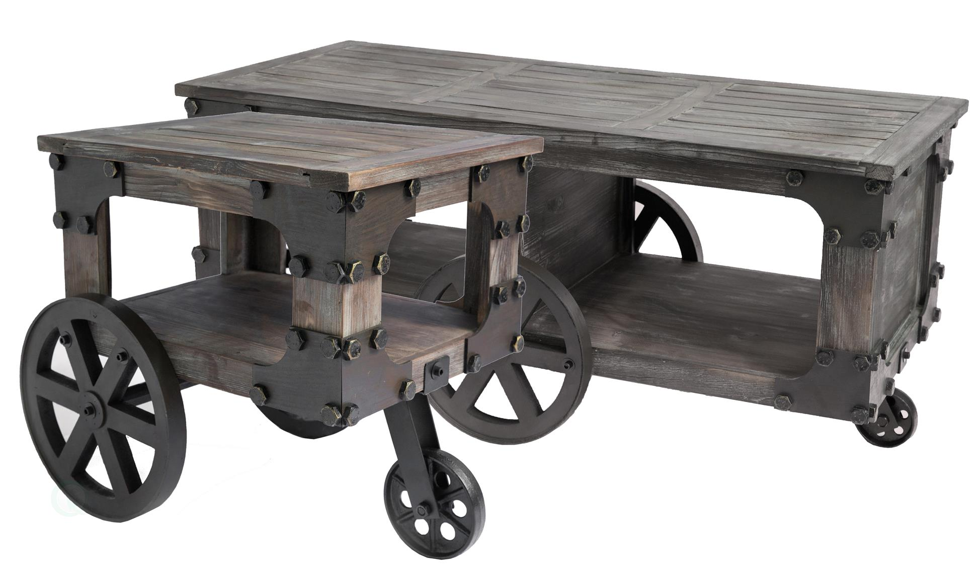 Rustic Industrial Wagon Style Coffee End Table With Storage Shelf