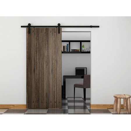 6 foot sliding barn door hardware kit black steel tsq04 for 6 foot sliding glass door