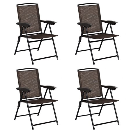 Gymax 4PCS Adjustable Folding Fabric Chair Powder Coated Steel Tube Frame Indoor Outdoor