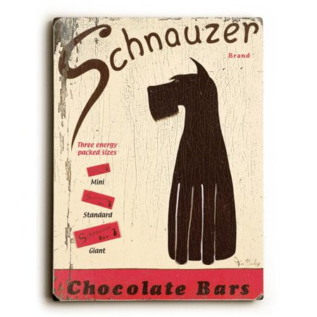 One Bella Casa 0003-1119-25 9 x 12 in. Schnauzer Chocolate Bars Solid Wood Wall Decor by Ken Bailey
