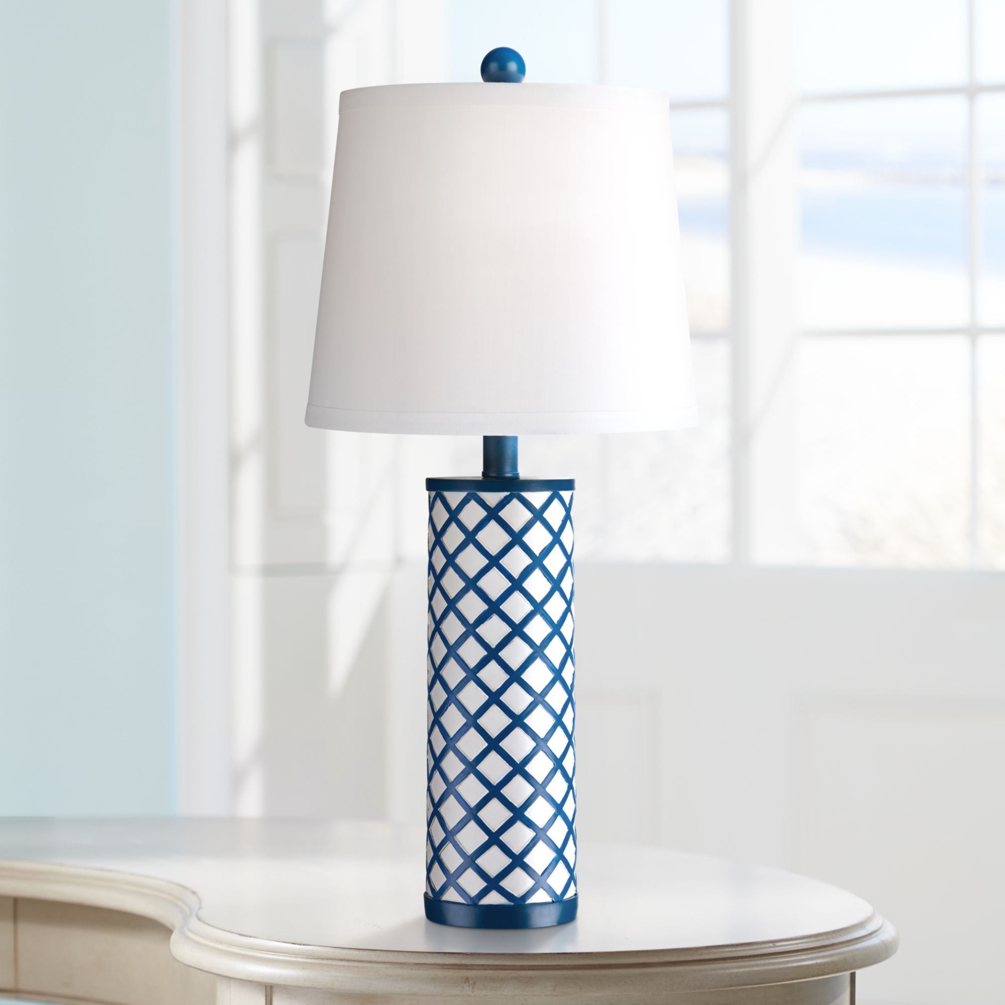 360 Lighting Modern Table Lamp Blue Lattice Column Diamond Markings