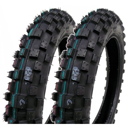 SET OF TWO: Mini Dirt Bike Tire 2.50-10 Front or Rear Tube Type Off Road Motocross Pattern (Bike Off Road Tires)