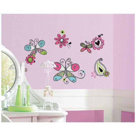 Glitter doodlerific floral peel and stick wall decals for Paintable peel n stick wallpaper