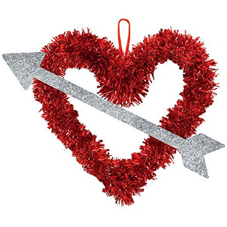 Valentine Tinsel Heart with Silver Arrow Hanging Decoration 13.5in. - Vintage Valentine Decorations