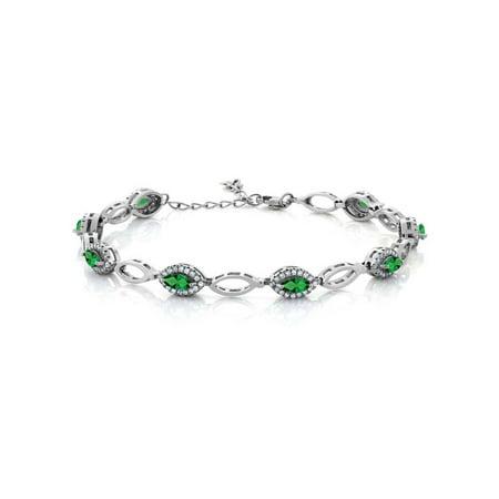3.26 Ct Marquise Green Simulated Emerald 925 Sterling Silver Bracelet - Bracelet Light