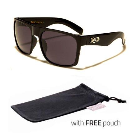 LOCS Original Gangsta Large Shades Sport Men Dark Black Lens Sunglasses POUCH v