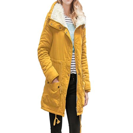 Womens Warm Long Coat Collar Hooded Jacket Slim Winter Parka Outwear Coats - Orange Cheerleader Jacket