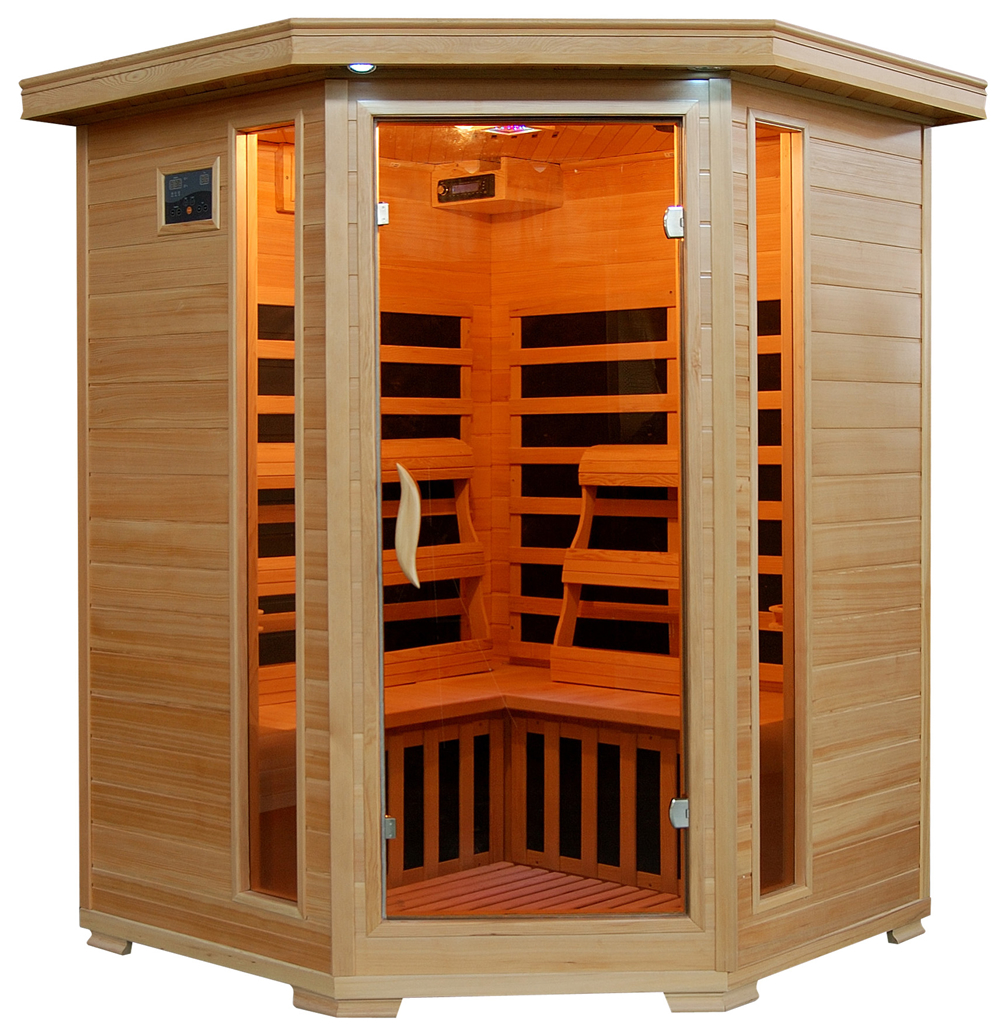 Radiant Saunas 3-Person Hemlock Corner Infrared Sauna w/ 7 Carbon Heaters