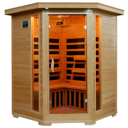 Radiant Saunas 3-Person Hemlock Corner Infrared Sauna w/ 7 Carbon Heaters