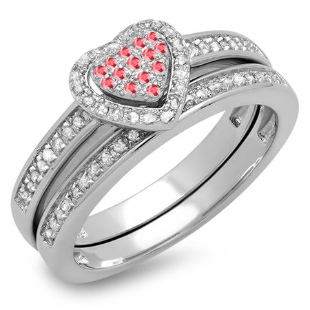 Dazzlingrock Collection Sterling Silver Ruby & White Diamond Ladies Heart Shaped Bridal Ring Set, Size 7 - Heart Shaped Bridal Set