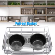 HERCHR Stainless Steel Pull-out Cabinet Basket Organizer for Dish Bowl Pan Household, Pull-out Organizer, Stainless Steel Pull-out Basket
