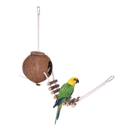 Bird House Nest Coconut Hideaway Perch with Ladder Bird Cage Accessories Swing Toy for Budgerigar Macaw Parakeet Cockatoo ()